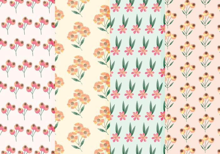 Wildflower Vector Watercolor Patterns