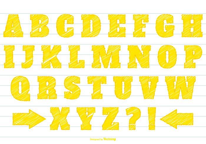 Yellow Scribble Alphabet Set
