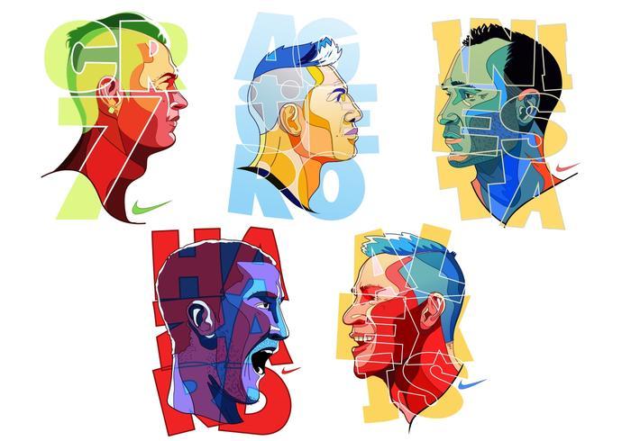 Colorful Futbol Player Vectors