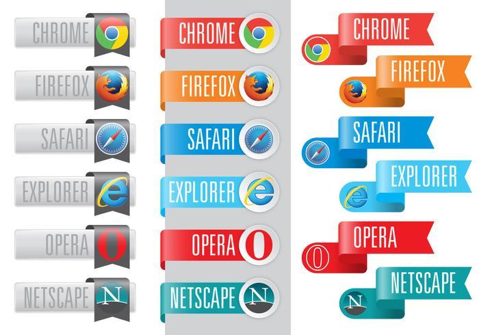 Logos do navegador da Web em fitas