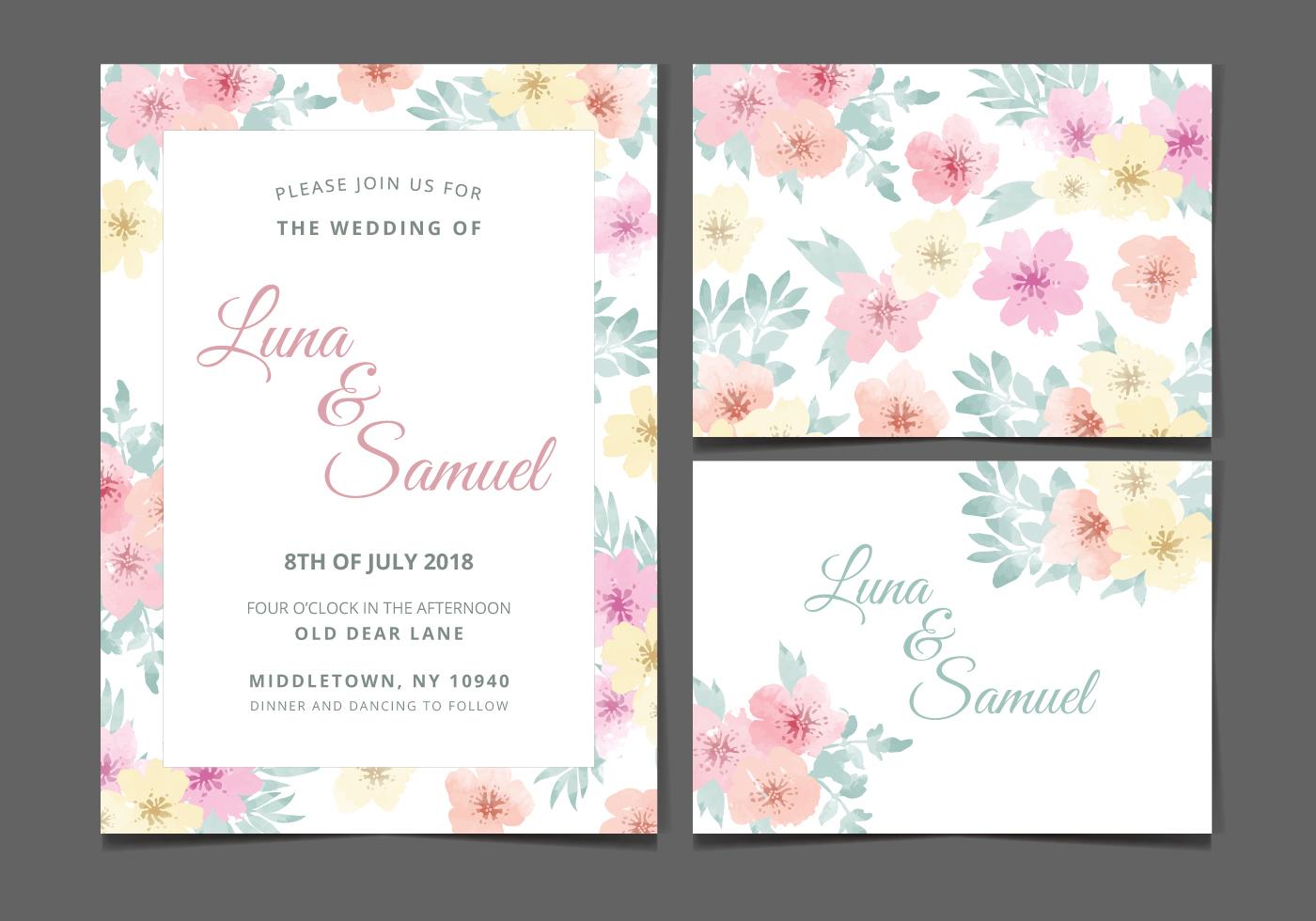 vector watercolor flower wedding invite download free vector art stock graphics images. Black Bedroom Furniture Sets. Home Design Ideas