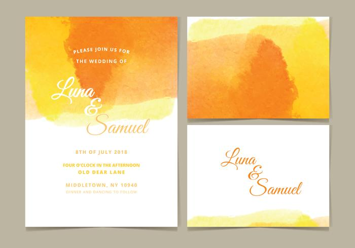 Vector Watercolor Wedding Invite
