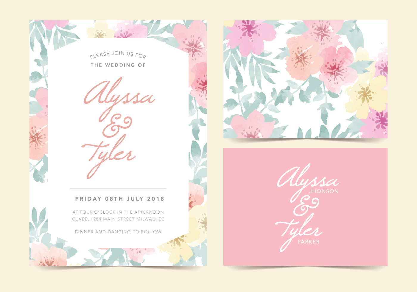 Floral Vector Wedding Invite Download Free Vector Art