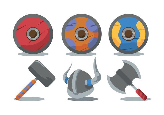Viking Shield och Vapen Vector Set