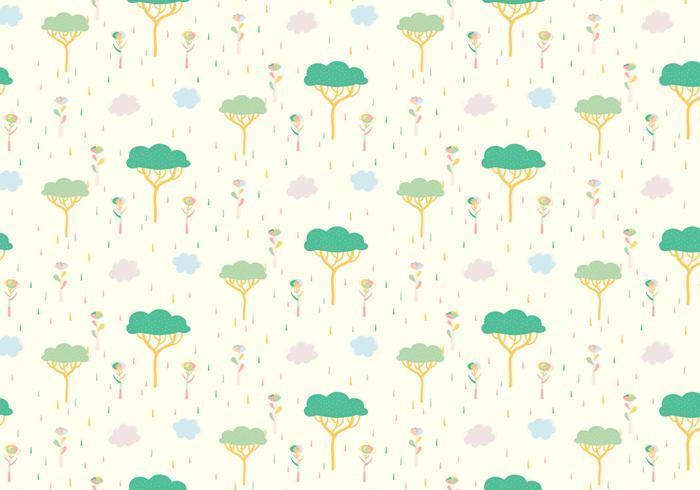 Tree Plants Pastel Pattern