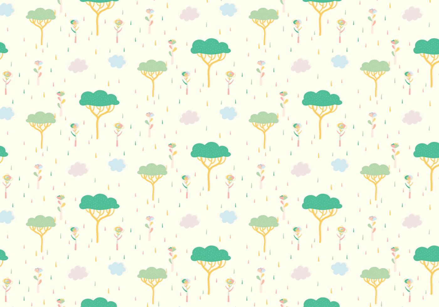 Tree Plants Pastel Pattern Download Free Vector Art