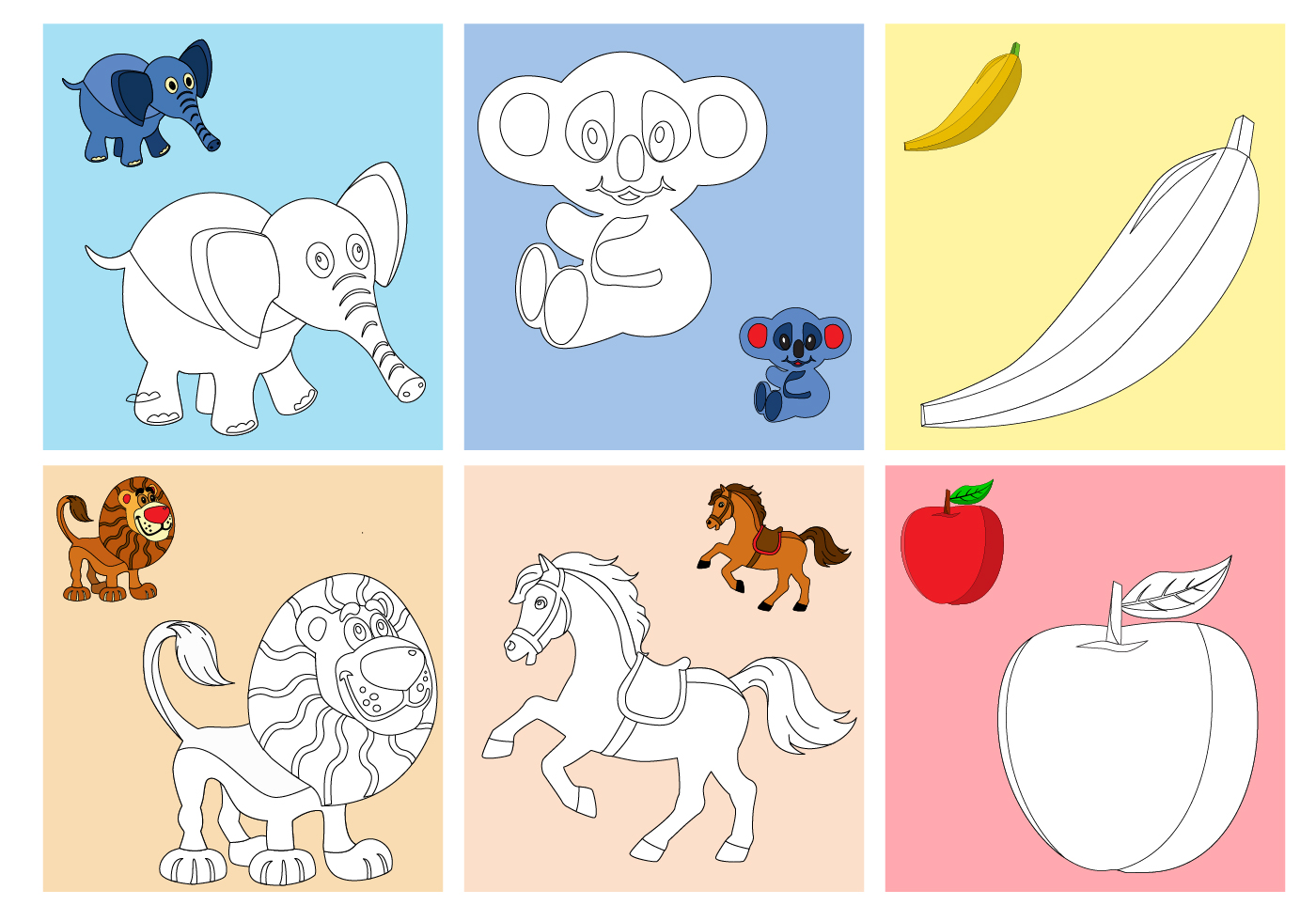 Coloring Fruits and Animals Pages Download Free Vector
