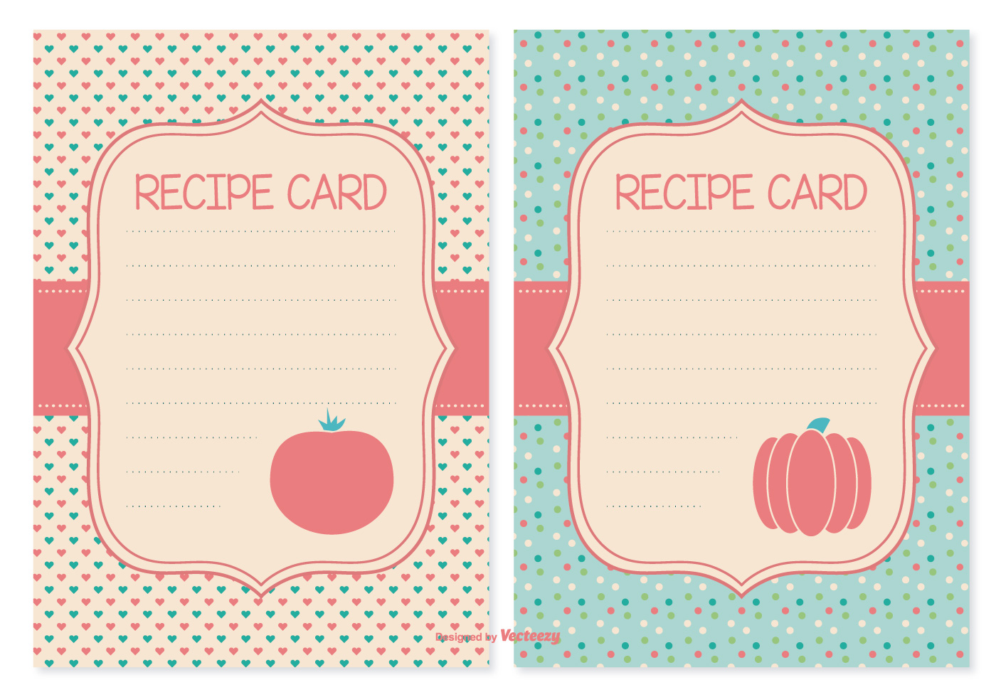 It's just a graphic of Old Fashioned Cute Recipe Cards