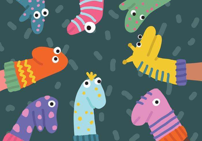 Cute Funny Socks Vecteurs de marionnettes vecteur