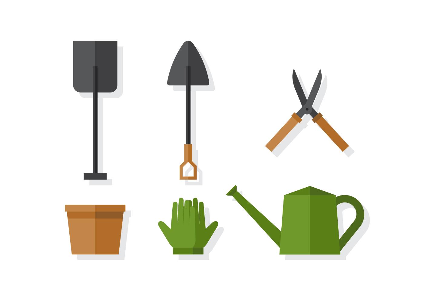Vector gardening elements download free vector art for Gardening tools vector