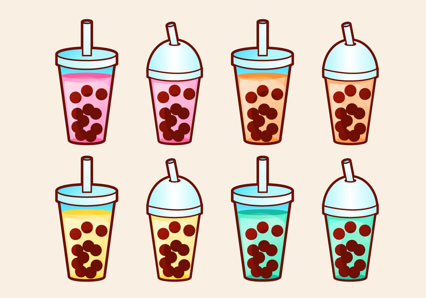 It is a graphic of Old Fashioned Boba Tea Drawing