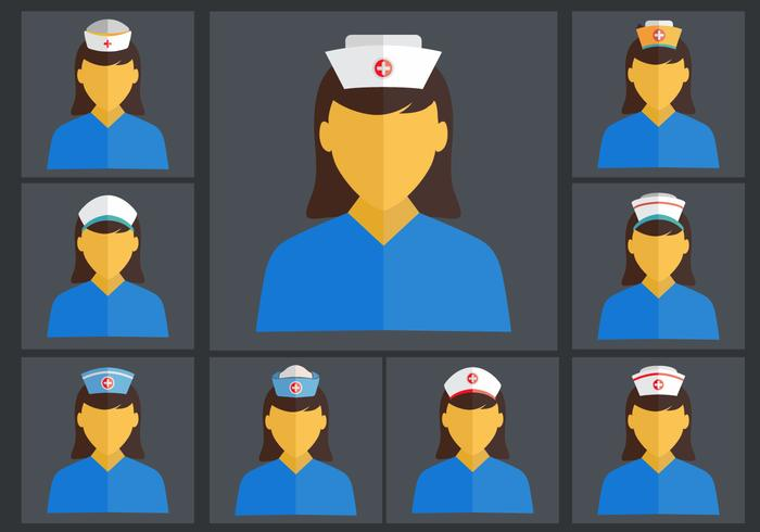 Nurse Cap Flat Vector set