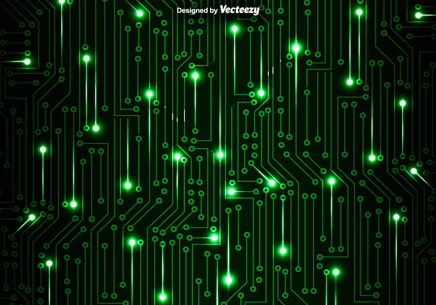 Motherboard Circuit Illustration: Green Circuit Board Vector Background