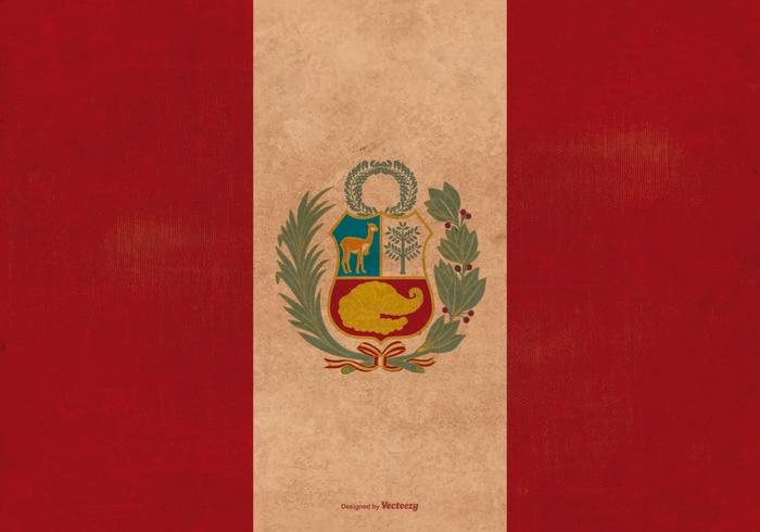 Bandera del Grunge del vintage de Perú vector