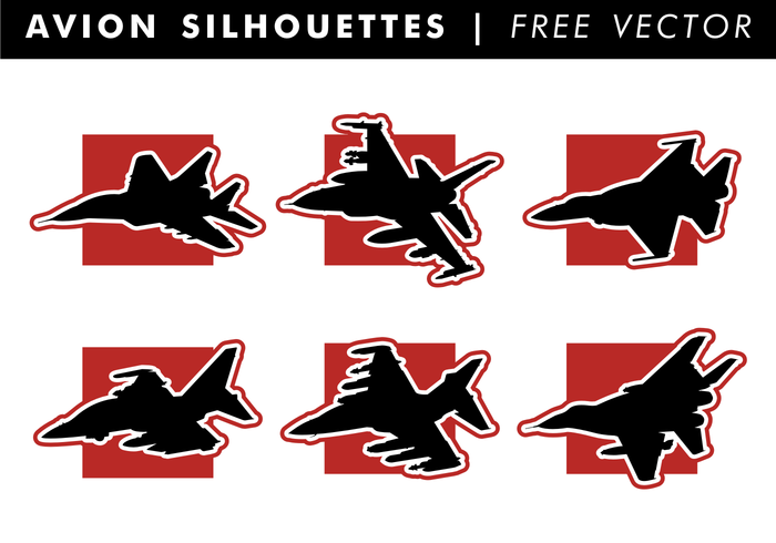 Avion Silhouettes Free Vector