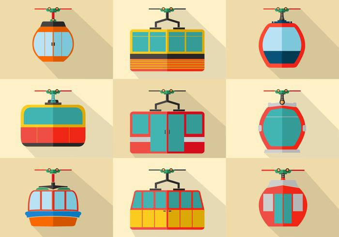Cable Car Flat Stock Vector Set