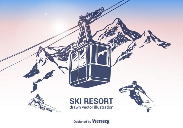 Free Ski Resort Vector Illustration