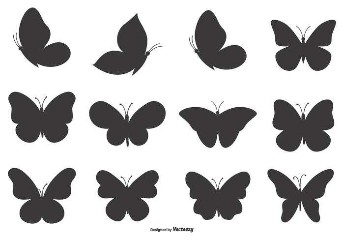 Ensemble de formes de papillons vecteur