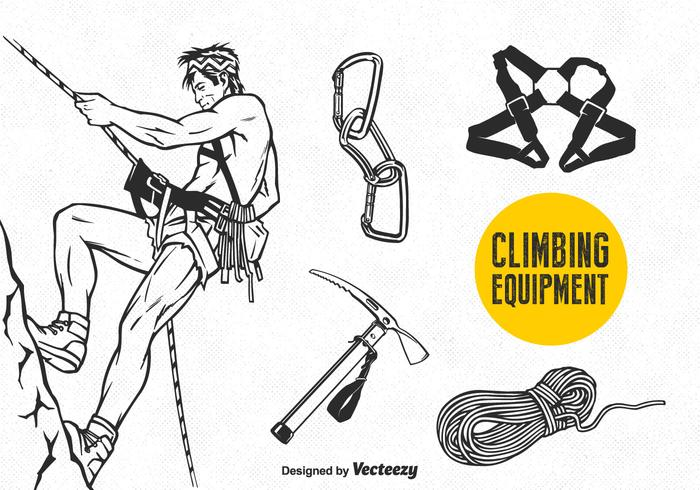 Free Vector Climbing Equipment Set
