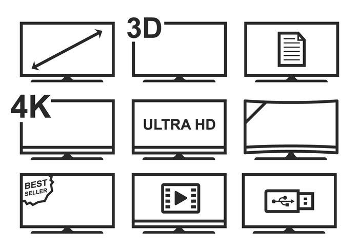 Conjunto de ícones de TV Led