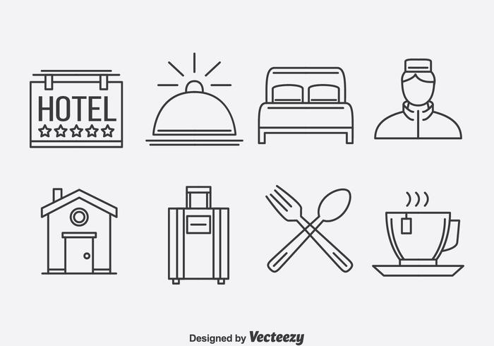 Hotel Outline Icons Vector