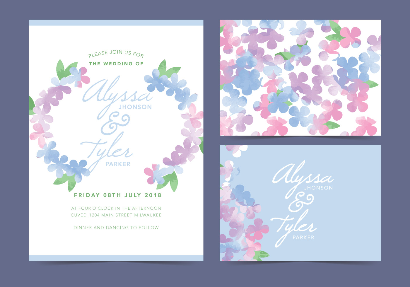 Vector Wedding Invitations: White Floral Vector Wedding Invite