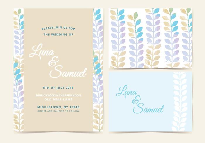 Vector Pastel Wedding Invite