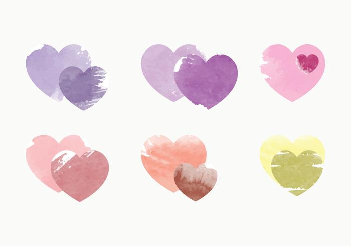 Vektor vattenfärg hjärta samling