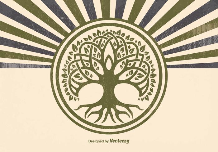 Retro stil Celtic Tree Illustration