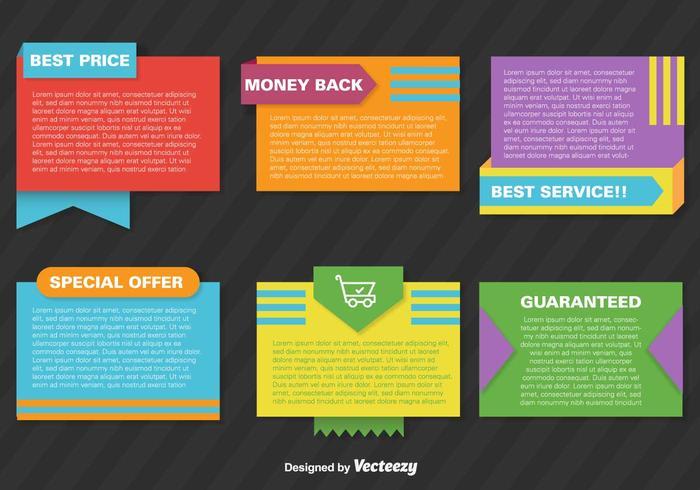 Set med Vector Promotional Färgglada Papper Banderoller