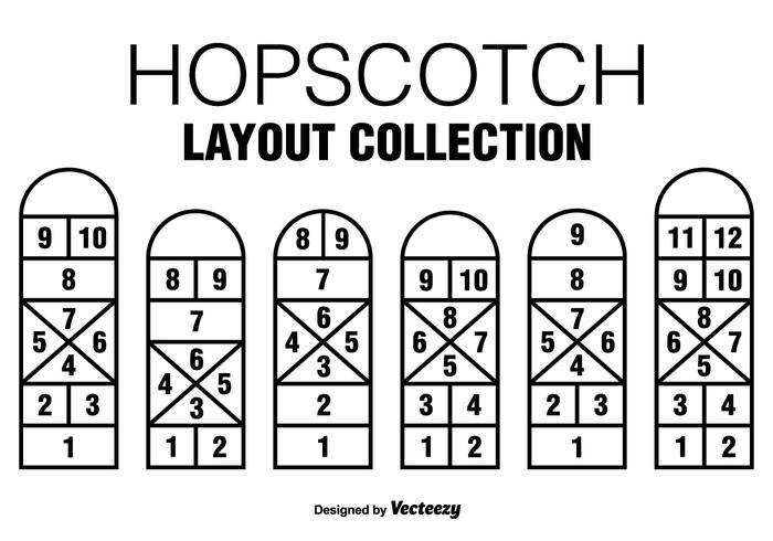 Six Vector Black Hopscotch Game  Icons