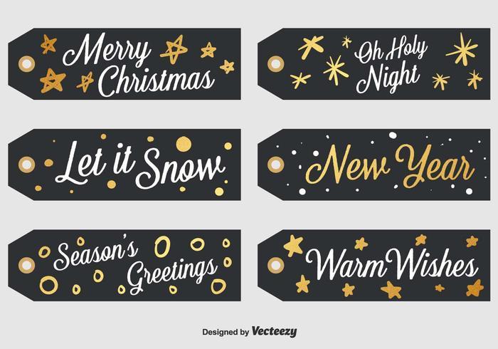 Set Of 6 Black Christmas Labels