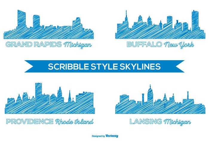 Scribble Style City Skylines vector