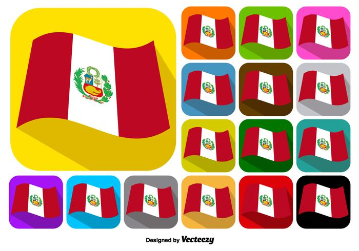 Vector Set Of Buttons Of Peru Flag