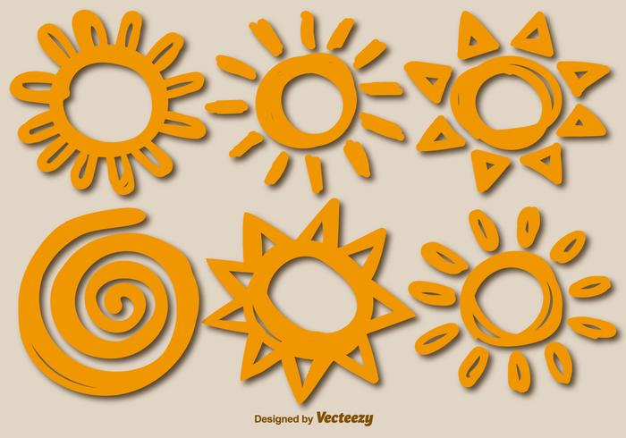 Zes Vector Handgetekende Zonnen