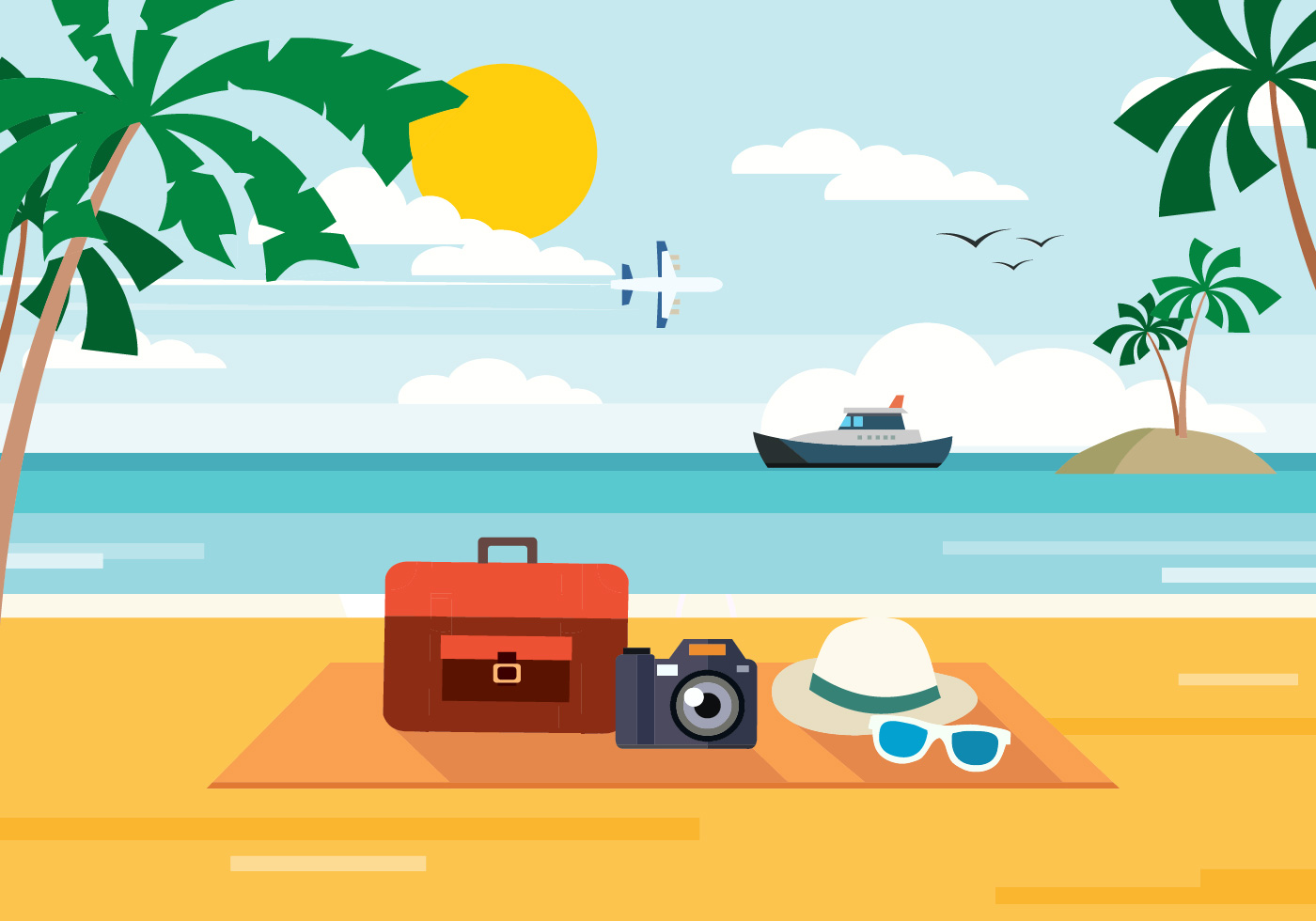 Free Summer Beach Vector Illustration Download Free Vector Art Stock Graphics &