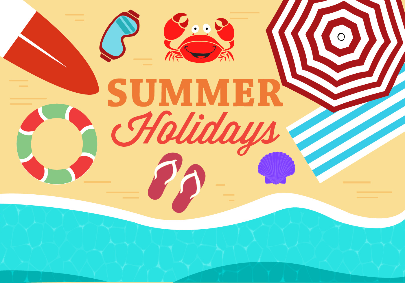 Enjoy Tropical Summer Holidays Backgrounds Vector 04 Free: Free Summer Beach Vector Illustration