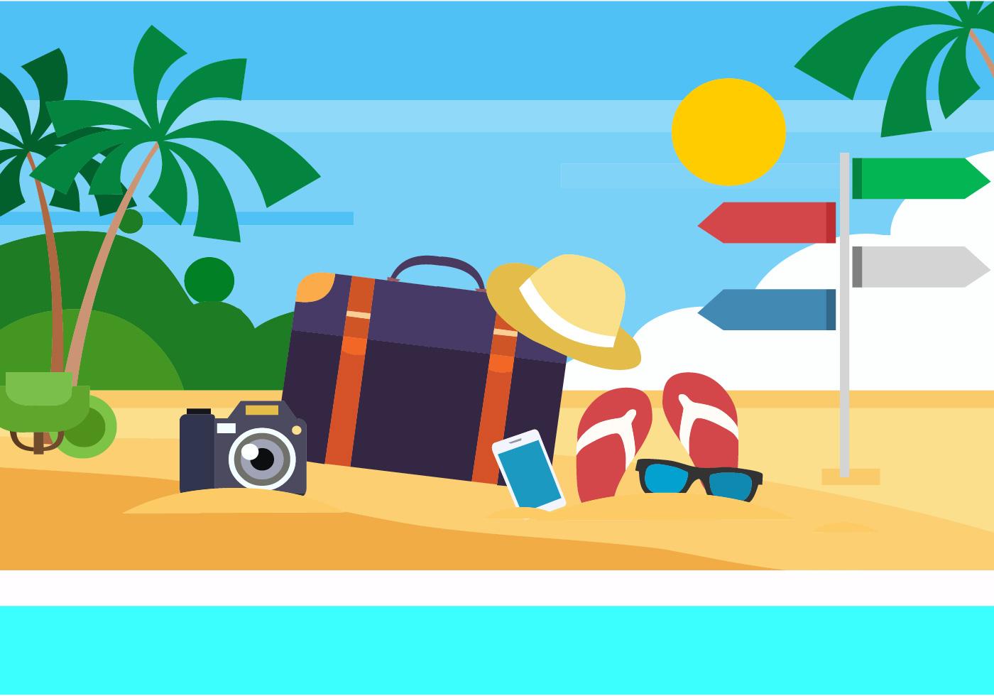 Free Summer Beach Vector Illustration - Download Free ...