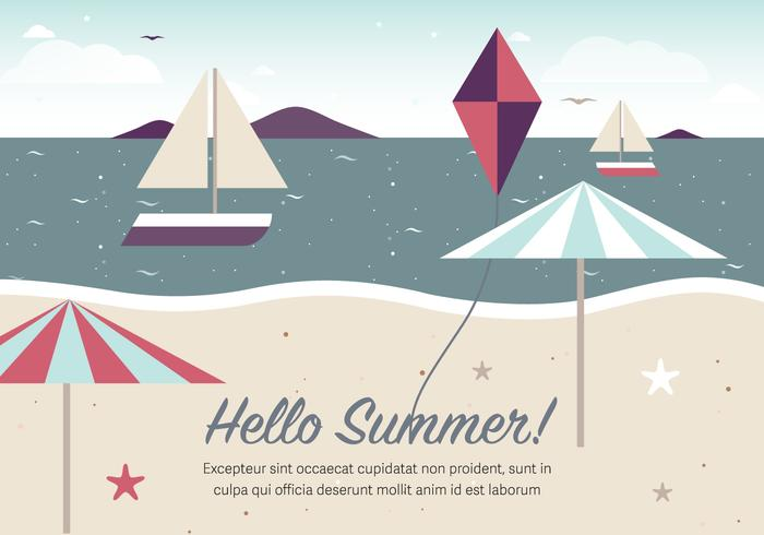Illustration vectorielle gratuite Vintage Summer Beach