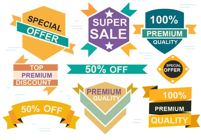 Free Sale Origami Design Vector Labels