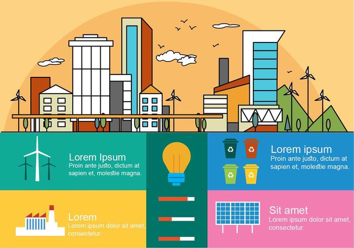 Free Flat Linear City Vector Infography