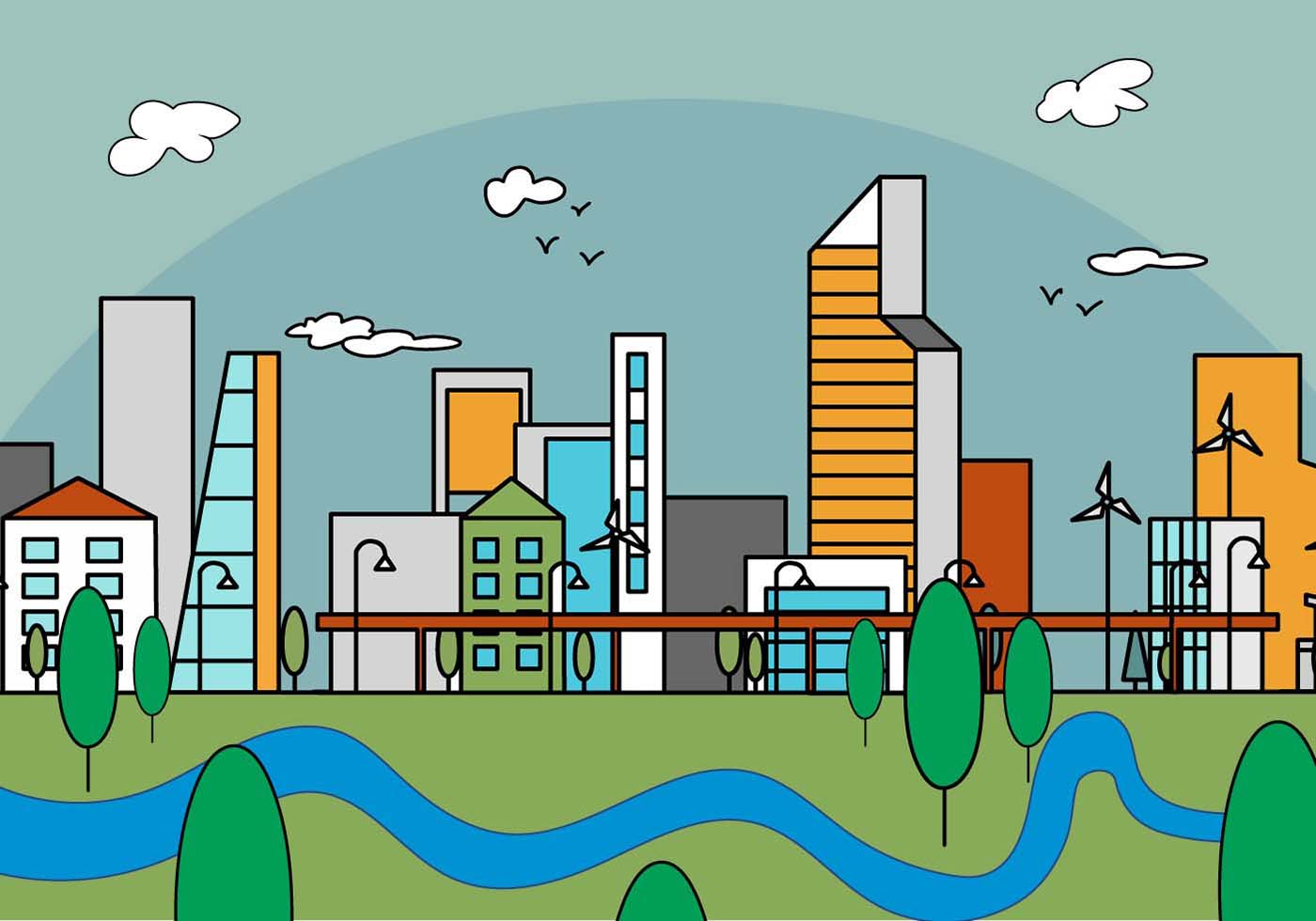 Download Free Vector Art Stock: Free Linear City Vector Illustration