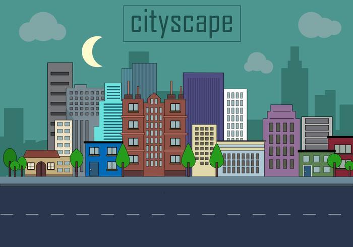 Free Urban Landscape Vector Illustration