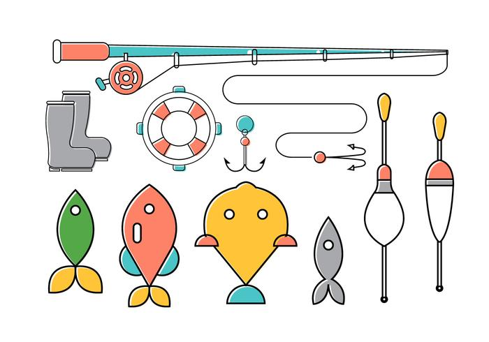 Vector Set of Fishing Tools
