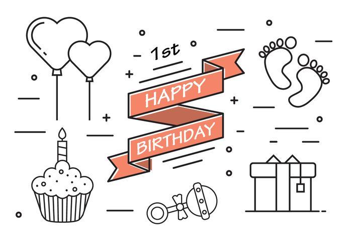 1st Birthday in Vector