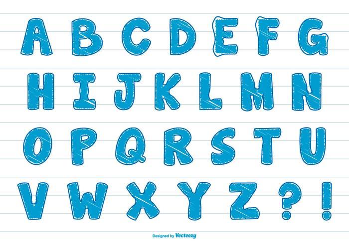 Cute Scribble Style Alphabet Set