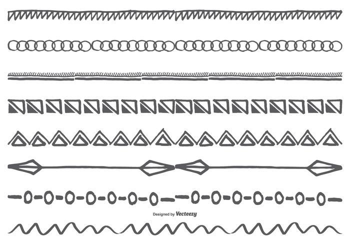 Conjunto de bordes dibujados a mano