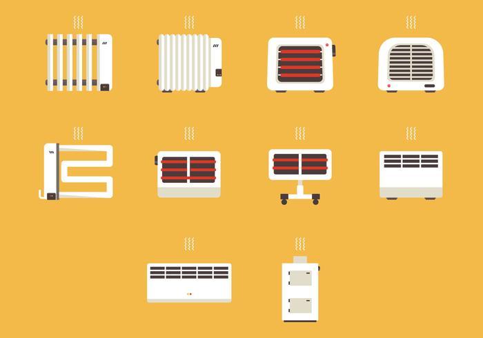Set di icone del dispositivo riscaldatore
