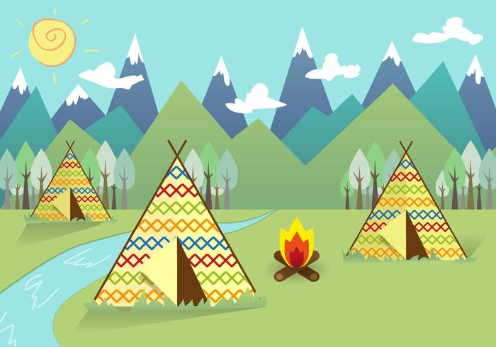 Tipi Indian Landscape Background Vector
