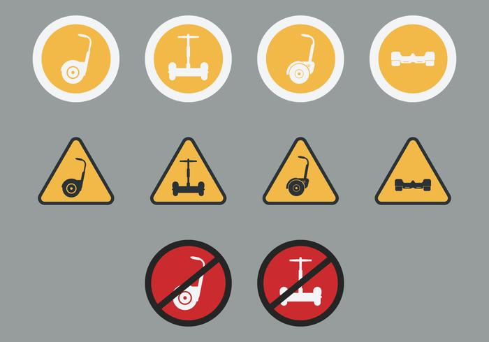 Segway Signs Icon Set